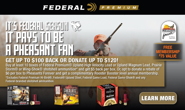 Rebate: Its Pays to be a Pheasant Fan