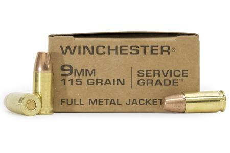WINCHESTER AMMO 9MM 115 GRAIN FMJ SERVICE GRADE 500/CASE