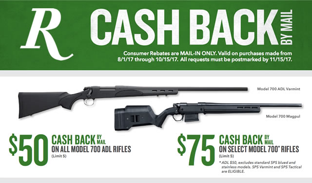 Rebate: Model 700 Rifles with Cash Back