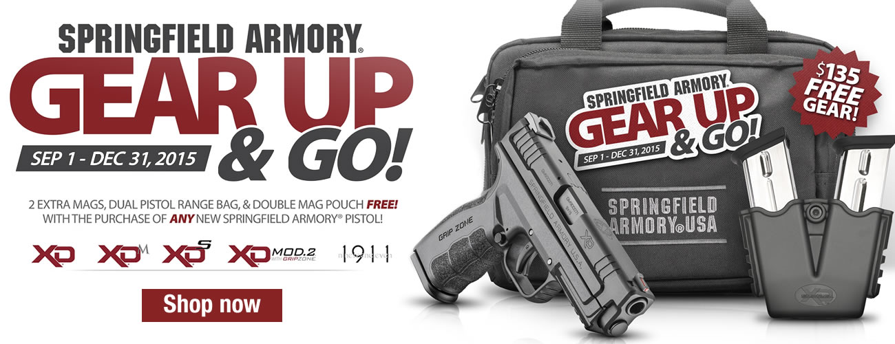 Springfield Gear Up Pistol Rebate: 2 Extra Mags, Dual Pistol Range Bag & Double Mag Pouch Free