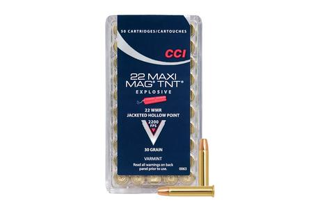 CCI AMMUNITION 22 WMR 30 gr TNT JHP Maxi-Mag 50/Box