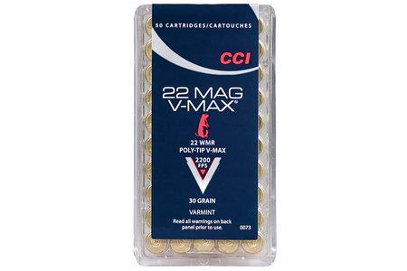 CCI 22 WMR 30 gr Poly-Tip V-Max Varmint 50/Box