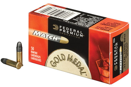 Federal 22 LR 40 gr Solid Gold Medal Match 50/Box