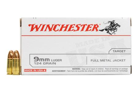 Winchester 9mm Luger 124 gr FMJ USA 500 Round Case