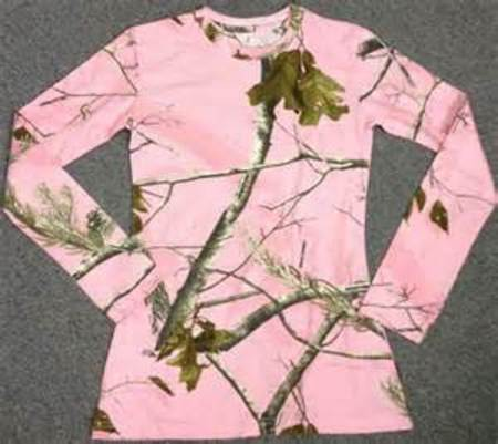 WOMENS L/S PINK CAMO SCOOP NECK TEE