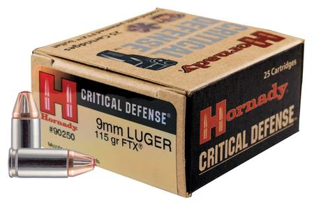 HORNADY 9MM 115 GR CRITICAL DEFENSE 25-ROUND BOX