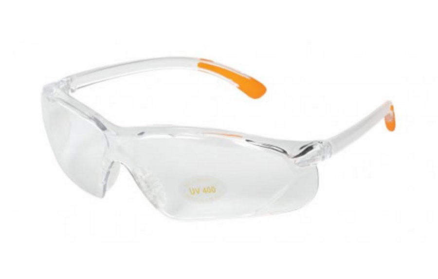 ALLEN COMPANY SHOOTING GLASSES CLEAR LENS/ORANGE TIPS