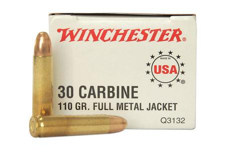 WINCHESTER AMMO 30 CARBINE 110 GR FMJ POLICE TRADE 50/BOX