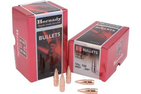 HORNADY 30 Cal .308 150 gr FMJ-BT 100/Box