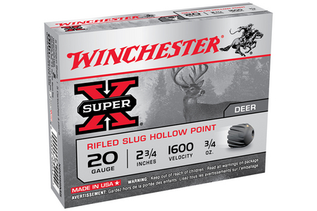 WINCHESTER AMMO 20 Gauge 2-3/4 Super-X Shotgun Slugs 5/Box