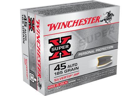 WINCHESTER AMMO 45 AUTO 185 GR SILVERTIP JHP SUPER-X 20/BOX
