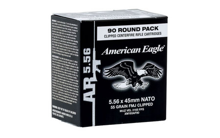 American Eagle .223 (5.56x45mm) FMJBT 55 Grain 90 Rounds with Stripper Clips