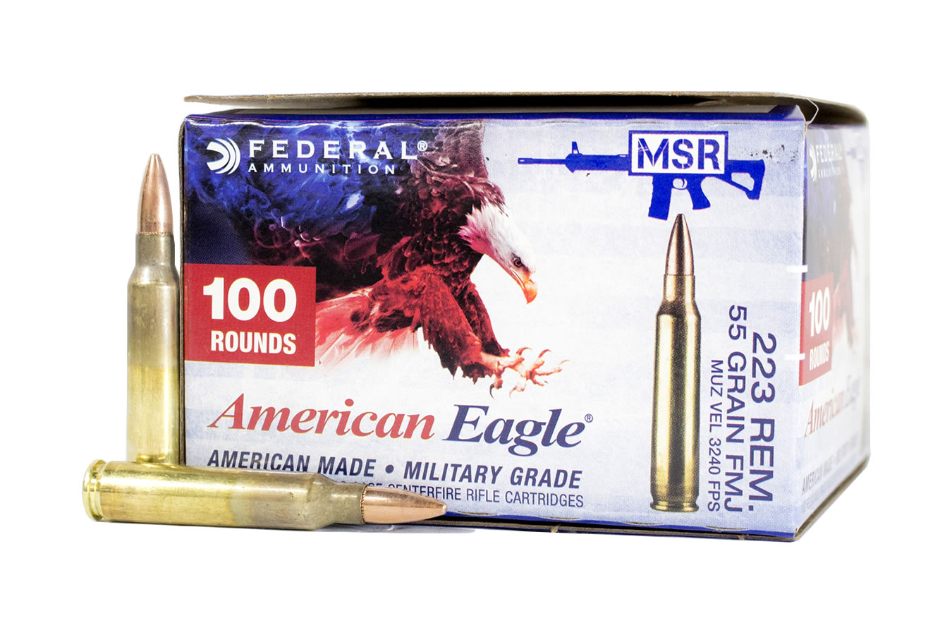 223 REM 55 GR FMJ BOAT TAIL 100 ROUNDS