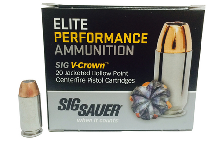 SIG SAUER 45 Auto 200 gr JHP Elite V-Crown 20/Box