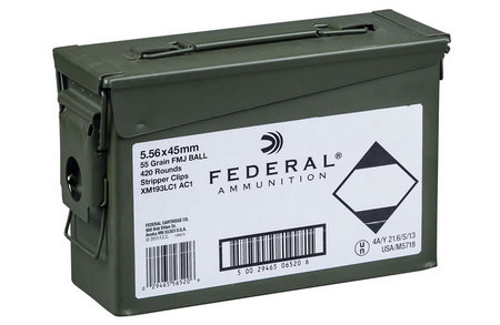 FEDERAL AMMUNITION XM193 5.56 55GR FMJ WITH AMMO CAN 420 ROUNDS
