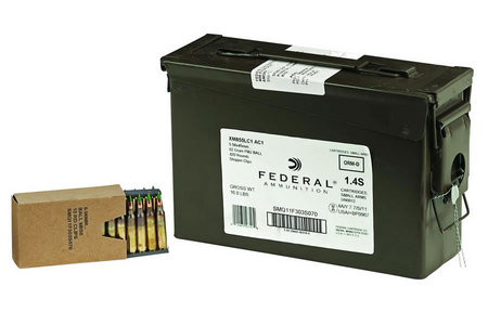 FEDERAL AMMUNITION XM855 5.56 62GR STRIPPER CLIPS AMMO CAN 420 RDS