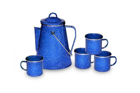 8 CUP PERCULATOR AND 4 MUG SET