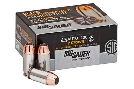 Sig Sauer 45 Auto 200 gr JHP Elite V-Crown 20/Box