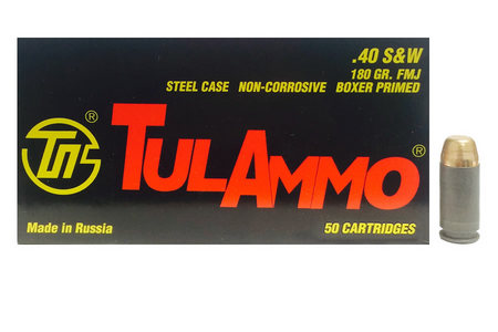 TULA AMMO 40SW 180 gr FMJ Steel Case 50/Box