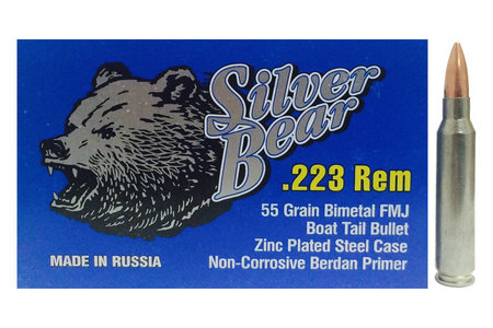 SILVER BEAR 223 REM 55 GR FMJ ZINC PLATED 500 ROUNDS