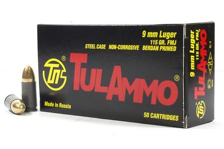 9MM LUGER 115 GR FMJ STEEL CASE 50/BOX