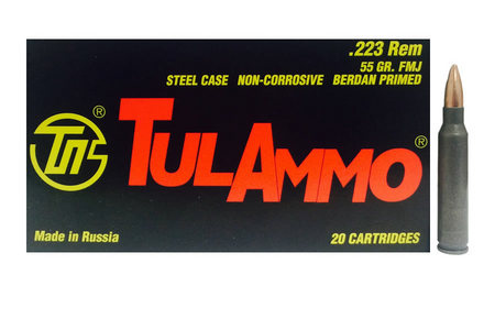 TULA AMMO 223 Rem 55 gr FMJ Steel Case 20/Box