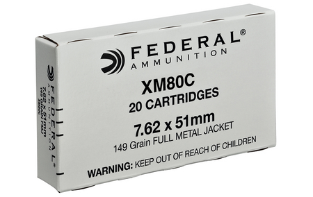 FEDERAL AMMUNITION XM80C 7.62x51mm 149 gr FMJ 20/Box