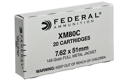 Federal XM80C 7.62x51mm 149 gr FMJ 20/Box