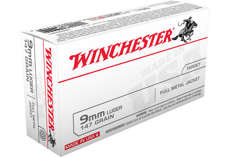Winchester 9mm Luger 147 gr FMJ Flat Nose 50/Box