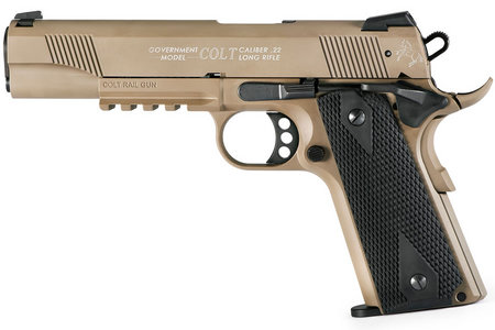 Walther Colt Government 22LR 1911 A1 Rail Gun with Flat Dark Earth (FDE)  Finish