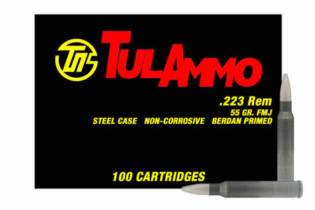 TULA AMMO 223 Rem 55 gr FMJ Steel Case 100/Box