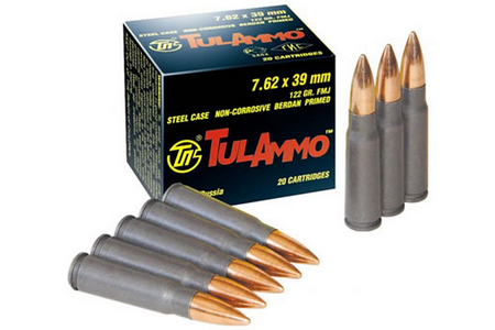 TULA AMMO 7.62x39mm 122 gr FMJ Steel case 100 Rounds