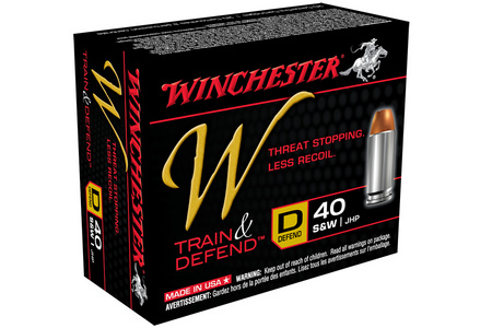 Winchester 40 SW 180 gr JHP W Train and Defend 20/Box