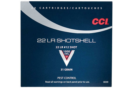CCI AMMUNITION 22 LR Shotshell 31 gr #12 Shot 20/Box