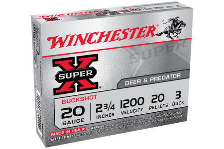 WINCHESTER AMMO 20 Ga 2-3/4 in 20 Pellet #3 Super X 5/Box