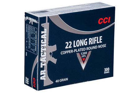 CCI AMMUNITION 22LR 40 gr Copper Plated Round Nose AR Tactical 300 Round Brick
