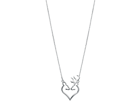 SILVER BUCK HEART NECKLACE
