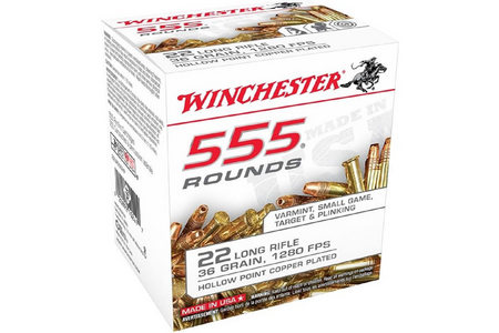 Winchester 22LR 36 gr Copper Plated Hollow Point 555 Round Brick