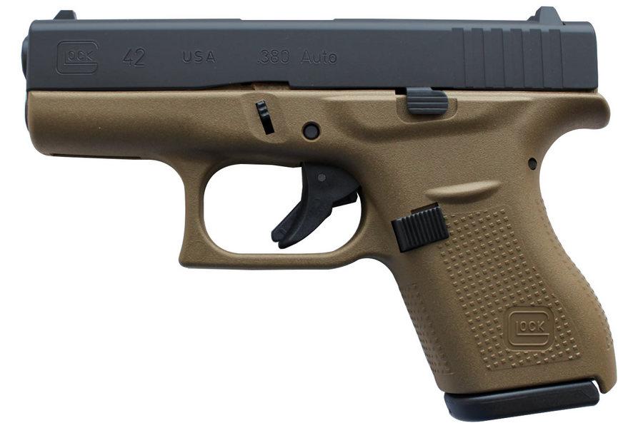 glock 42 380 auto single stack flat dark earth pistol sportsman 39 s outdoor superstore. Black Bedroom Furniture Sets. Home Design Ideas