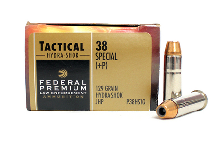 FEDERAL AMMUNITION 38 Special +P 129 gr Hydra-Shok JHP Tactical Police Trade Ammo 50/Box