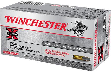 WINCHESTER AMMO 22LR 40 gr Lead Round Nose Copper Plated Super-X 50/Box
