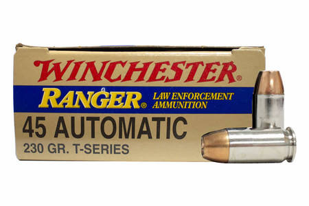 Winchester 45 Auto 230 gr JHP Ranger T-Series Police Trade Ammo 50/Box