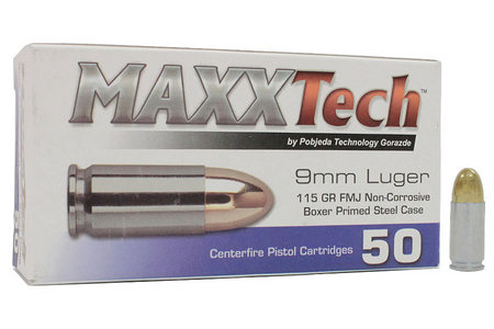 Tula Ammo 9mm Luger 115 gr FMJ Steel Case Target Ammo 50/Box