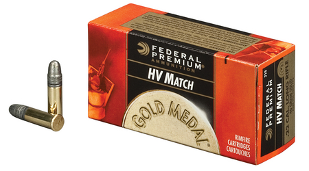 Federal Ammunition 22LR 40 gr Solid HV Match Gold Medal 500 Round Brick
