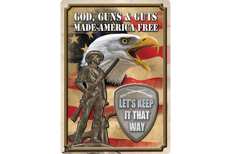GOD GUNS  GUTS TIN SIGN
