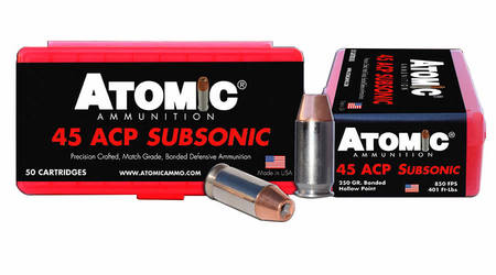 Atomic Ammuntion 45 ACP 250 gr Bonded Hollow Point Subsonic 50/Box