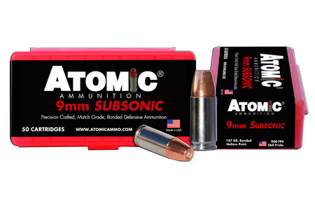 Atomic Ammuntion 9mm 147 gr Subsonic Bonded Match HP 50/Box
