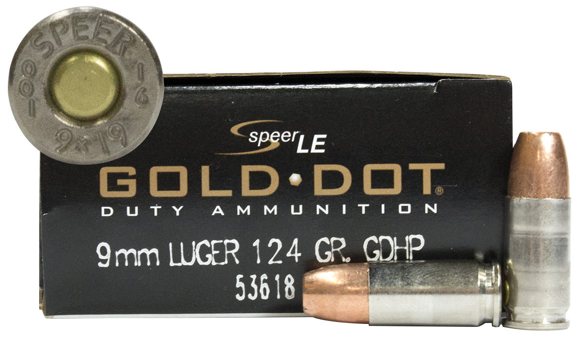 9MM LUGER 124GR HP GOLD DOT 50/BX