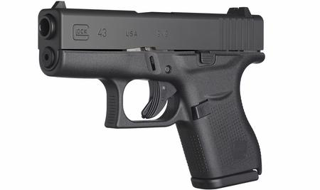 GLOCK G43 9MM 3.39 IN BARREL BLACK POLYMER FRAME BLACK SLIDE 6 ROUND MAGAZINE