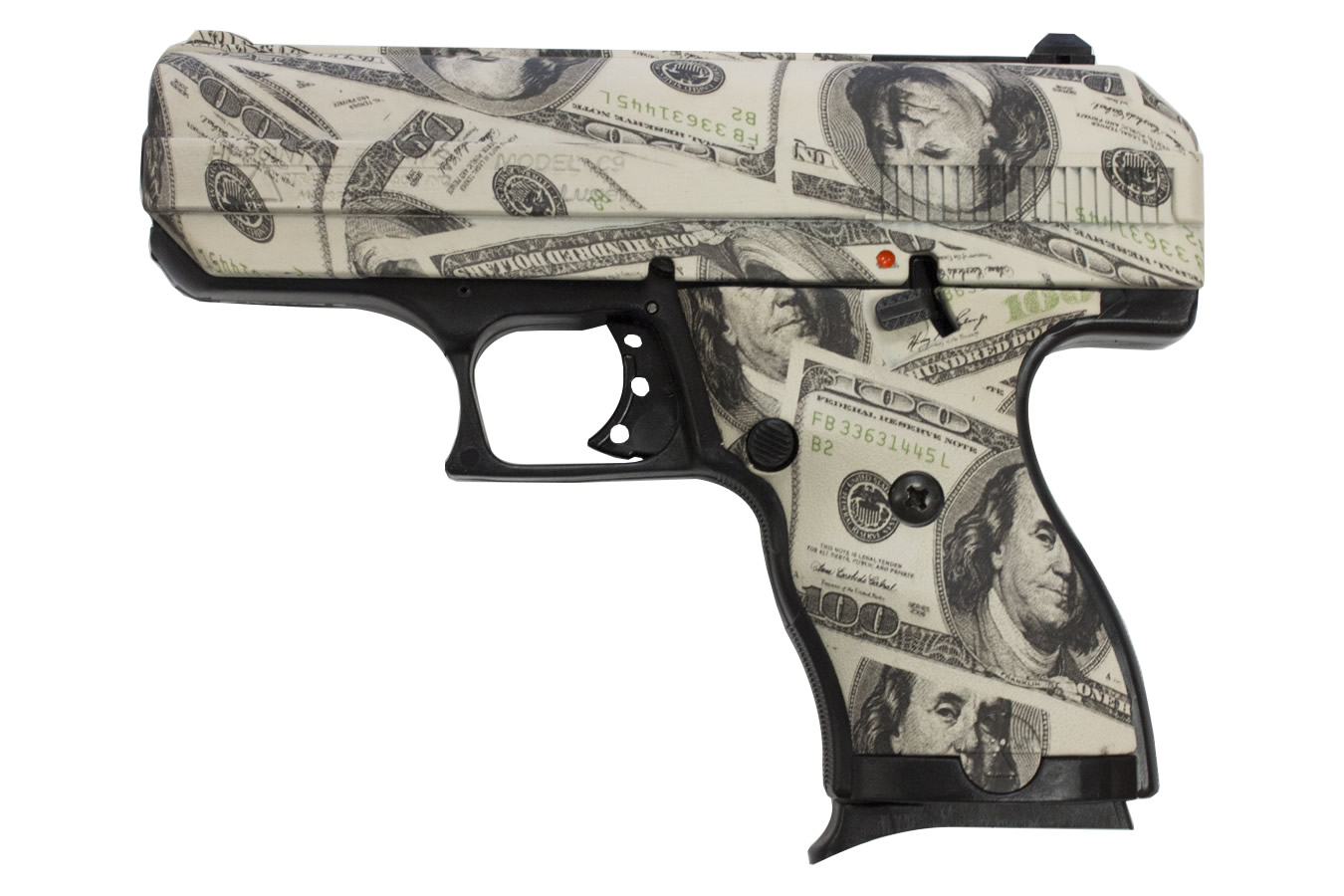 hi point c9 9mm with hundred dollar   100  bill finish